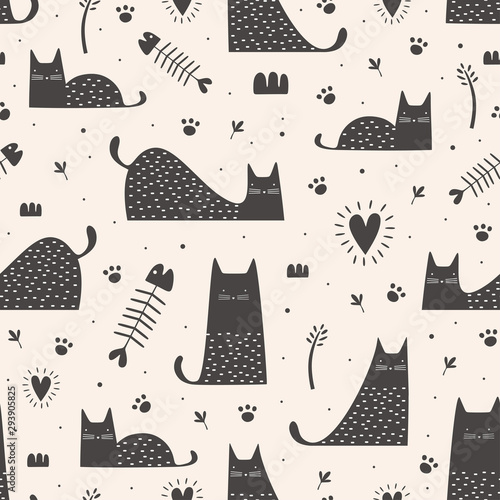 obraz lub plakat Cute black cats seamless pattern with hand drawn childish style. Vector illustration vintage trendy design.