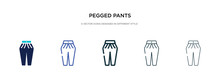 Pegged Pants Icon In Different Style Vector Illustration. Two Colored And Black Pegged Pants Vector Icons Designed In Filled, Outline, Line And Stroke Style Can Be Used For Web, Mobile, Ui