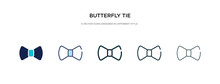 Butterfly Tie Icon In Different Style Vector Illustration. Two Colored And Black Butterfly Tie Vector Icons Designed In Filled, Outline, Line And Stroke Style Can Be Used For Web, Mobile, Ui