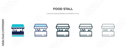 Fotografia food stall icon in different style vector illustration
