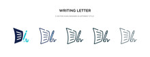 Writing Letter Icon In Different Style Vector Illustration. Two Colored And Black Writing Letter Vector Icons Designed In Filled, Outline, Line And Stroke Style Can Be Used For Web, Mobile, Ui
