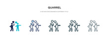 Quarrel Icon In Different Style Vector Illustration. Two Colored And Black Quarrel Vector Icons Designed In Filled, Outline, Line And Stroke Style Can Be Used For Web, Mobile, Ui