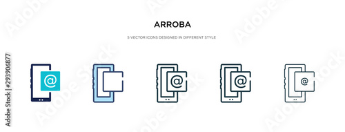arroba icon in different style vector illustration Wallpaper Mural