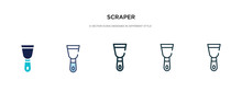 Scraper Icon In Different Style Vector Illustration. Two Colored And Black Scraper Vector Icons Designed In Filled, Outline, Line And Stroke Style Can Be Used For Web, Mobile, Ui