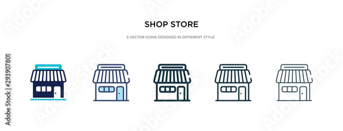 Cuadros en Lienzo shop store icon in different style vector illustration
