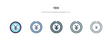 Yen Icon In Different Style Ve...