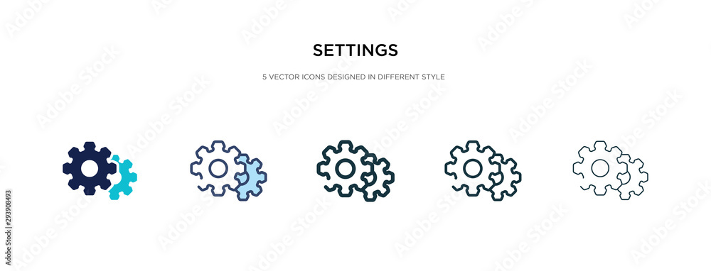 Fototapeta settings icon in different style vector illustration. two colored and black settings vector icons designed in filled, outline, line and stroke style can be used for web, mobile, ui