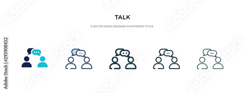 Obraz talk icon in different style vector illustration. two colored and black talk vector icons designed in filled, outline, line and stroke style can be used for web, mobile, ui - fototapety do salonu