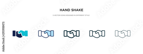 Fototapeta hand shake icon in different style vector illustration. two colored and black hand shake vector icons designed in filled, outline, line and stroke style can be used for web, mobile, ui obraz