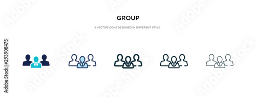 group icon in different style vector illustration. two colored and black group vector icons designed in filled, outline, line and stroke style can be used for web, mobile, ui - fototapety na wymiar
