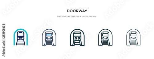 Valokuvatapetti doorway icon in different style vector illustration