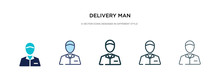 Delivery Man Icon In Different Style Vector Illustration. Two Colored And Black Delivery Man Vector Icons Designed In Filled, Outline, Line And Stroke Style Can Be Used For Web, Mobile, Ui