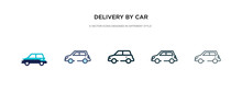 Delivery By Car Icon In Differ...
