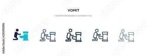 Fotografie, Obraz vomit icon in different style vector illustration