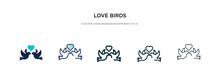 Love Birds Icon In Different Style Vector Illustration. Two Colored And Black Love Birds Vector Icons Designed In Filled, Outline, Line And Stroke Style Can Be Used For Web, Mobile, Ui