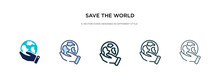 Save The World Icon In Different Style Vector Illustration. Two Colored And Black Save The World Vector Icons Designed In Filled, Outline, Line And Stroke Style Can Be Used For Web, Mobile, Ui