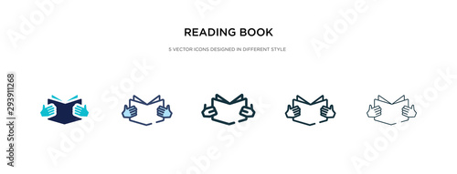 Fotografía reading book icon in different style vector illustration