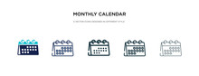Monthly Calendar Icon In Different Style Vector Illustration. Two Colored And Black Monthly Calendar Vector Icons Designed In Filled, Outline, Line And Stroke Style Can Be Used For Web, Mobile, Ui