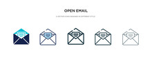 Open Email Icon In Different Style Vector Illustration. Two Colored And Black Open Email Vector Icons Designed In Filled, Outline, Line And Stroke Style Can Be Used For Web, Mobile, Ui