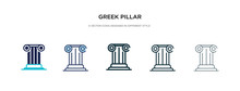 Greek Pillar Icon In Different...