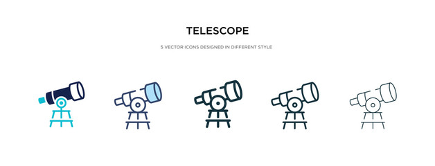 telescope icon in different style vector illustration. two colored and black telescope vector icons designed in filled, outline, line and stroke style can be used for web, mobile, ui