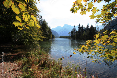 Scenic view of the shallow crystal clear water of the Almsee, near Grünau im Alm Canvas Print