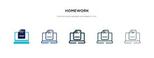Homework Icon In Different Style Vector Illustration. Two Colored And Black Homework Vector Icons Designed In Filled, Outline, Line And Stroke Style Can Be Used For Web, Mobile, Ui