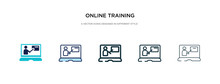 Online Training Icon In Different Style Vector Illustration. Two Colored And Black Online Training Vector Icons Designed In Filled, Outline, Line And Stroke Style Can Be Used For Web, Mobile, Ui