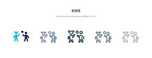 Kids Icon In Different Style Vector Illustration. Two Colored And Black Kids Vector Icons Designed In Filled, Outline, Line And Stroke Style Can Be Used For Web, Mobile, Ui