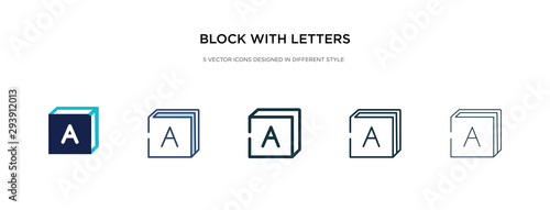 Photo block with letters icon in different style vector illustration