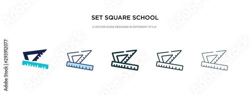 set square school tool icon in different style vector illustration Billede på lærred