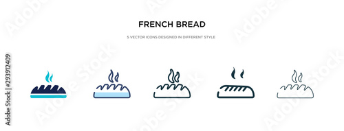 Valokuvatapetti french bread icon in different style vector illustration