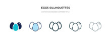 Eggs Sillhouettes Icon In Diff...