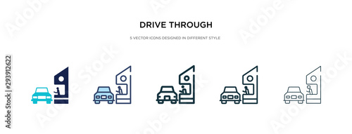 Fotomural drive through icon in different style vector illustration