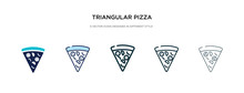 Triangular Pizza Slice Icon In Different Style Vector Illustration. Two Colored And Black Triangular Pizza Slice Vector Icons Designed In Filled, Outline, Line And Stroke Style Can Be Used For Web,
