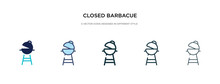 Closed Barbacue Icon In Different Style Vector Illustration. Two Colored And Black Closed Barbacue Vector Icons Designed In Filled, Outline, Line And Stroke Style Can Be Used For Web, Mobile, Ui