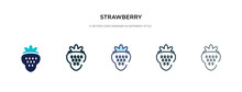 Strawberry Icon In Different Style Vector Illustration. Two Colored And Black Strawberry Vector Icons Designed In Filled, Outline, Line And Stroke Style Can Be Used For Web, Mobile, Ui