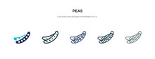 Peas Icon In Different Style Vector Illustration. Two Colored And Black Peas Vector Icons Designed In Filled, Outline, Line And Stroke Style Can Be Used For Web, Mobile, Ui