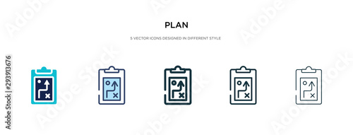 Fototapeta plan icon in different style vector illustration. two colored and black plan vector icons designed in filled, outline, line and stroke style can be used for web, mobile, ui obraz
