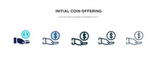 Initial Coin Offering Icon In Different Style Vector Illustration. Two Colored And Black Initial Coin Offering Vector Icons Designed In Filled, Outline, Line And Stroke Style Can Be Used For Web,