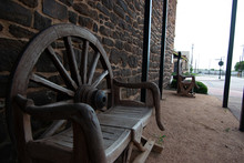 Rustic Bench Made From Wagon Wheel