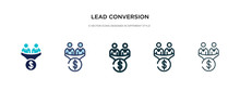 Lead Conversion Icon In Different Style Vector Illustration. Two Colored And Black Lead Conversion Vector Icons Designed In Filled, Outline, Line And Stroke Style Can Be Used For Web, Mobile, Ui