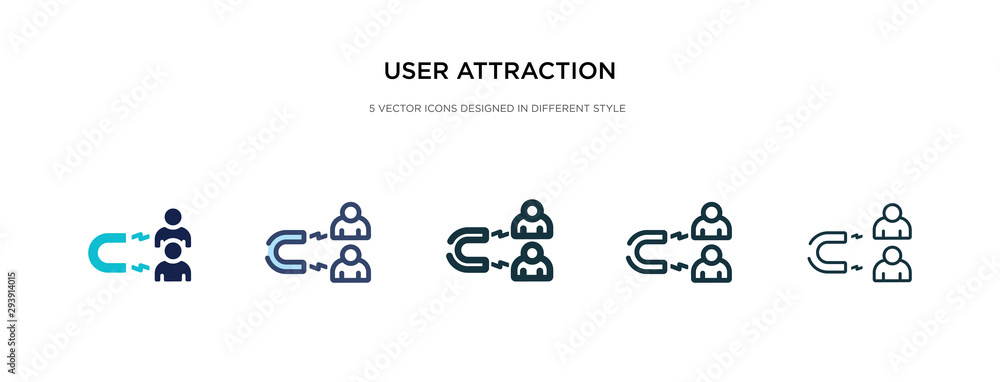 Fototapeta user attraction icon in different style vector illustration. two colored and black user attraction vector icons designed in filled, outline, line and stroke style can be used for web, mobile, ui