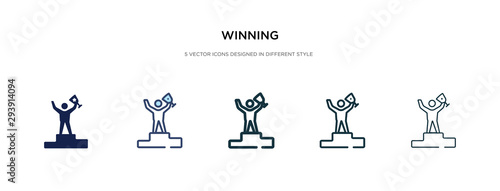 Fotomural winning icon in different style vector illustration
