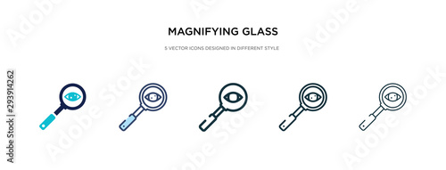 magnifying glass searcher icon in different style vector illustration Wallpaper Mural