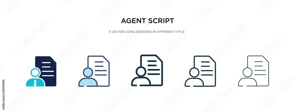 Fototapeta agent script icon in different style vector illustration. two colored and black agent script vector icons designed in filled, outline, line and stroke style can be used for web, mobile, ui