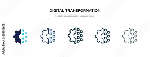 Fotomural digital transformation icon in different style vector illustration