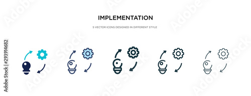 Fototapety, obrazy: implementation icon in different style vector illustration. two colored and black implementation vector icons designed in filled, outline, line and stroke style can be used for web, mobile, ui