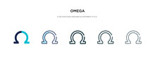 Omega Icon In Different Style Vector Illustration. Two Colored And Black Omega Vector Icons Designed In Filled, Outline, Line And Stroke Style Can Be Used For Web, Mobile, Ui