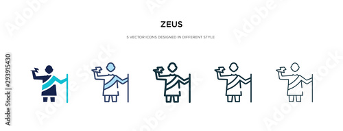 Photo zeus icon in different style vector illustration